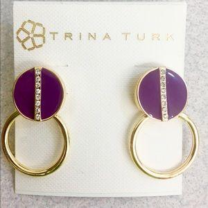 Beautiful NWOT Trina Turk purple enamel earrings💜